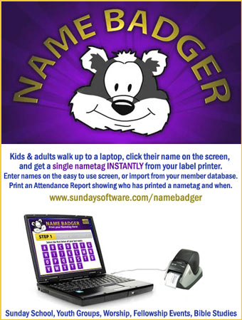 Advertisement for Name Badger from www.sundaysoftware.com